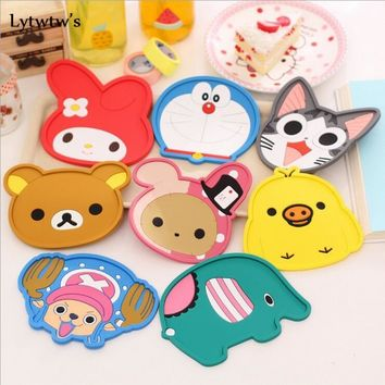 1 Pcs Lytwtw's Silicone bar Pad Cartoon Antiskid Mat Cup Table Mat Bowl Pads Drink hello Coaster Placemat kitchen kitty doilies