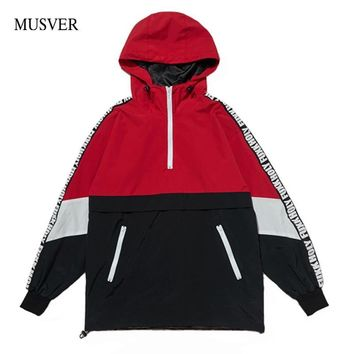 Trendy MUSVER Patchwork Pullover Hooded Jackets Men 2018 Autumn Half Zipper Tracksuit Casual Hip Hop Windbreaker Jacket Coat Streetwear AT_94_13