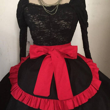 French maid apron Black red Cosplay Deadpool Inspired Hostess Party Halloween
