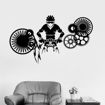 Vinyl Wall Decal Cyclist Gear Bike Bicycle Sports Decor Stickers Mural Unique Gift (ig3169)