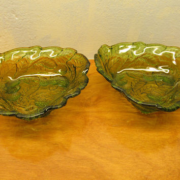 Beautiful set of the Fenton vintage green berry bowls