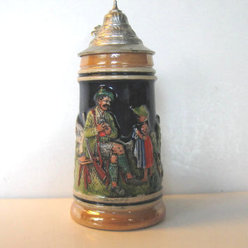 Vintage Thewalt Ceramic Beer Stein, Made in West Germany, Serving, Retro Collectible