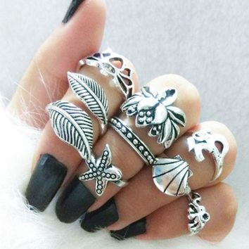 VONEYW7 hot style european and american vintage ring 8 piece lotus shell leaves starfish set ring