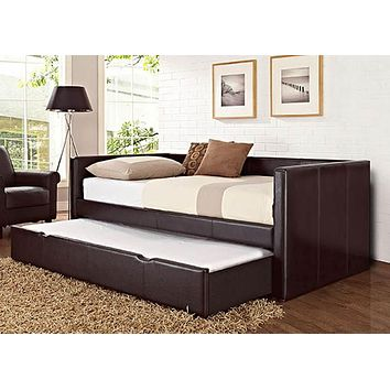 66450 Lindsey Upholstered Brown Twin Daybed and Trundle