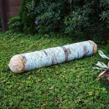 Long White Birch Tree Log Bolster Pillow