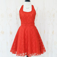 My Lady IV - Floral Halter Dress Cute Spring Summer Sundress Dark Orange Lace Dress Lace Halter Party Dress Wedding Bridesmaid Dress XS-XL
