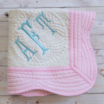 Baby Blanket - Personalized Baby Quilt - White with Pink Trim - 36 x 46 Inches - Baby Girl Nursery Decor - Pink Nursery Decor - Pink Bedding