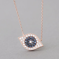 ROSE GOLD EVIL EYE NECKLACE SWAROVSKI BLUE PAVE EVIL EYE PENDANT JEWELRY AT Kellinsilver.com - Designer Jewelry Online Shop as ETSY