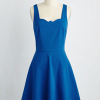 Mid-length Sleeveless A-line Care to Romance? Dress in Royal Blue