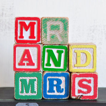 Vintage Wood Alphabet Blocks, Mr and Mrs, Wooden Letter Sign, Wedding Decor, Gift for Newlyweds