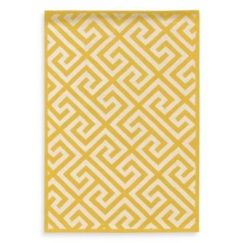 Linon Home Greek Key Rug in Yellow/White