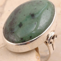Blushing Zoisite Ringin 925 Sterling Silver