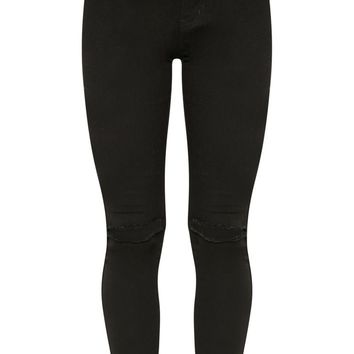 Black Knee Rip High Waisted Skinny Jean