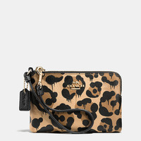 Corner Zip Wristlet in Wild Beast Print Leather