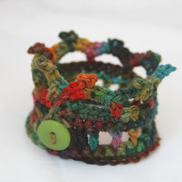Crochet Jewelry, Crown Cuff, Bracelet with Button, Rainforest, Green, Red, Jungle, Gifts Under 10, Style Accessories - READY TO SHIP