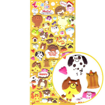 Japanese Kawaii Puppy Dog Shaped Puffy Stickers for Scrapbooking | Cute Animal Themed Scrapbook Decorating Supplies