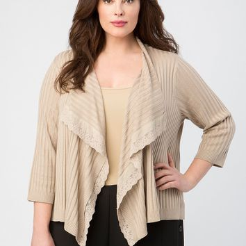 Lace Trim Open Front Draped Cardigan