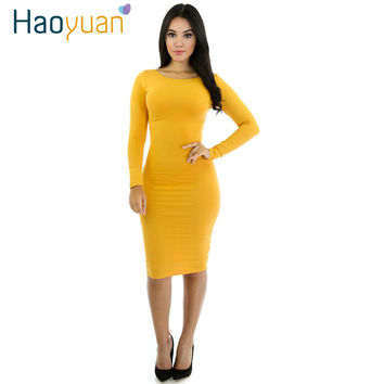 Women Autumn Winter Dress 2017 Yellow White Black Long Sleeve Sexy Party Dresses Slim Knee-Length Ladies Office Bodycon Dress