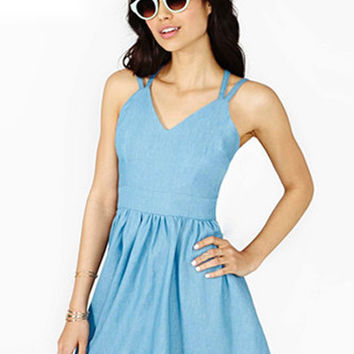 Light Blue Criss-Cross Skater Dress