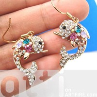 Cute Dolphin Sea Fish Animal Dangle Earrings with Colorful Rhinestones