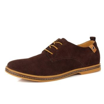 CIOR Men Oxford Classic Dress Suede Leather Casual Shoes Lace-up Loafer Sneakers, VPX01,Coffee,48