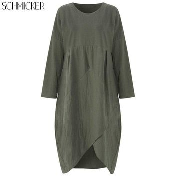 SCHMICKER Women Autumn Long Sleeve Casual Loose Solid Cotton Patchwork A Line Dress Female Asymmetrical Hem Midi Dress Plus Size