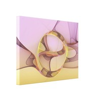 Abstract Motions, Modern Light Pink Yellow Fractal Canvas Print