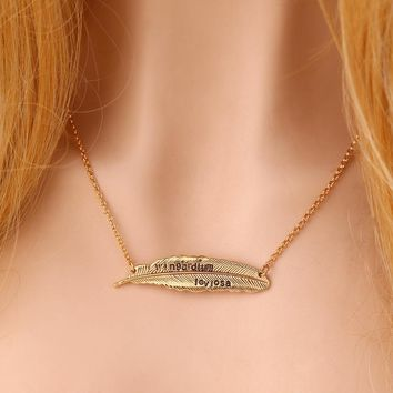Gift New Arrival Stylish Jewelry Shiny Leaf Harry Potter Alloy Feather Necklace [11203383559]