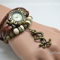 Harry Potter wrist watch,skull mark and snake Nagini charms bracelet-- deathly hallows charms leather bracelet BASS01