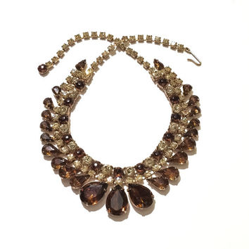 Stunning Rhinestone Necklace, Bib or Choker, Unsigned Weiss, Amber, Rootbeer, 1950s