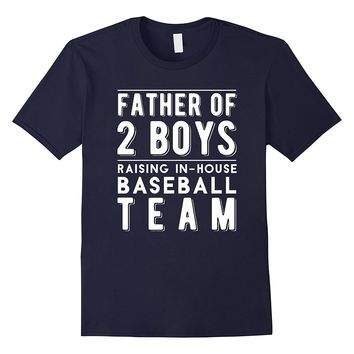 Men's Father of 2 Boys Shirt | Baseball Son on Daddy Team T Shirt