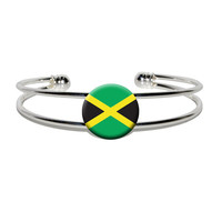 Jamaica Jamaican Flag Silver Plated Metal Cuff Bracelet
