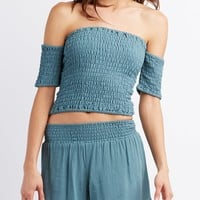 Smocked Off-The-Shoulder Crop Top
