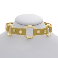 Yellow Leather Three Ring Choker