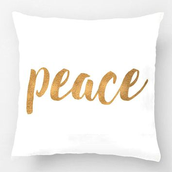 Modern Peace In Gold Festive Holiday Wedding Decorative Cushion Cover Pillow Case Customize Gift By Lvsure For Seat Pillowcase