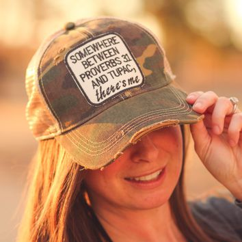Proverbs 31 & Tupac Trucker Hat in Distressed Camo