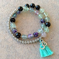 Cleansing and Soothing, Fluorite and Onyx 27 Bead Wrap Mala Bracelet