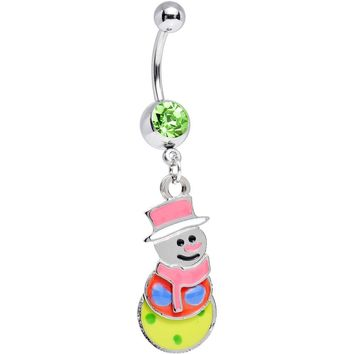 Seasonal Holiday TRIPPY SNOWMAN Dangle Belly Ring