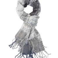Gray Combo Nubby Plaid Fringe Scarf by Charlotte Russe