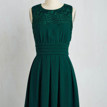 Mid-length Sleeveless A-line V.I.Pleased Dress in Forest Green