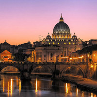 Saint Peter's Basilica #1, Vatican City, Rome, Italy, Church, Sunset, Bridge, Tiber River - Travel Photography, Print, Wall Art