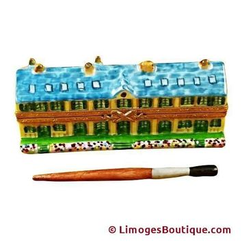 MONET'S RESIDENCE AT GIVERNY WITH REMOVABLE PAINT BRUSH LIMOGES BOX