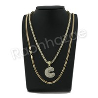 "ICED OUT C INITIAL BUBBLE PENDANT W/ 24"" CUBAN /18"" TENNIS CHAIN NECKLACE S13"