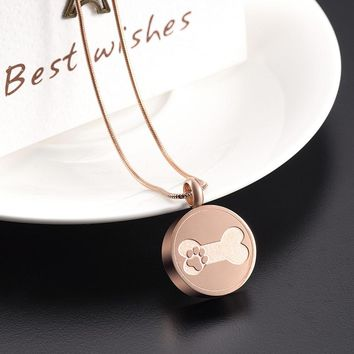 2017 New Arrival Stainless Steel Cute/Romantic Pet Dog Cremation Jewelry for Ashes Pendant Necklace Unisex