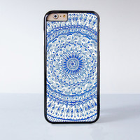 Blue Mandala Plastic Case Cover for Apple iPhone 6 6 Plus 4 4s 5 5s 5c