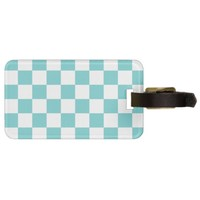 Teal Sky Checkerboard Bag Tag