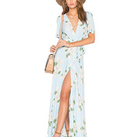 White V-Neck Long Slit Tie Waist Floral Print Maxi Dress
