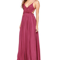 Rose V-neck Spaghetti Strap Cutout High Waist Pleated A-Line Maxi Dress