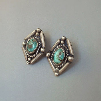 Old Pawn Vintage NATIVE American NAVAJO Turquoise Earrings STERLING Art Deco Design Clip-On Backs