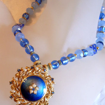 Blue Twilight Necklace - Made With Vintage Blue Guilloche' Enamelled Pendant Brooch - Signed -  - Blue Rhinestones And Pearls Mother's Day